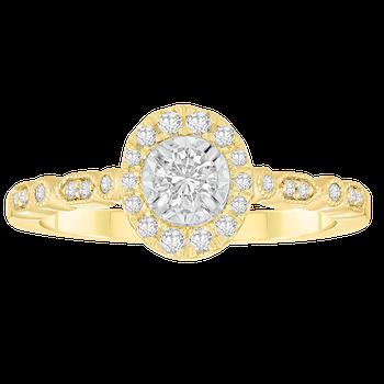 Yellow Gold 1/3ctw Round Halo Ring