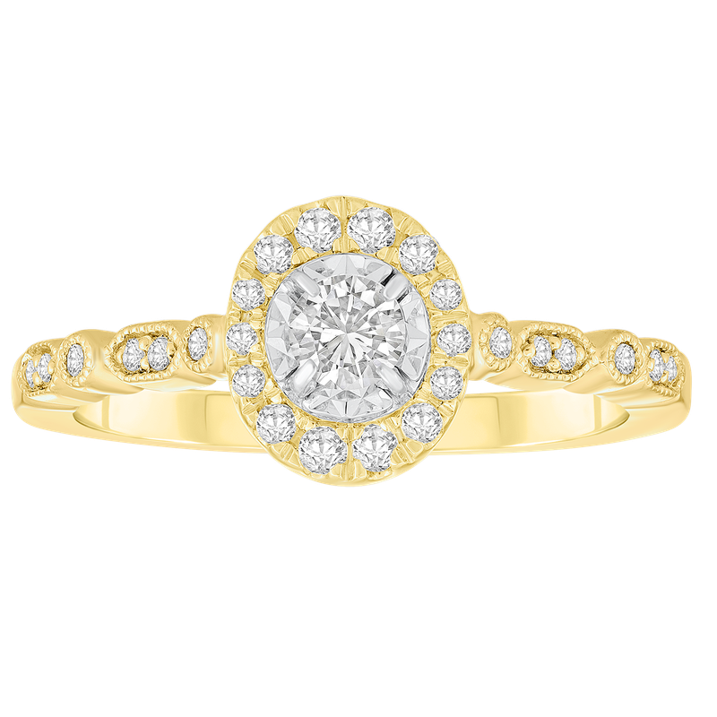 Saslow's & Henebry's Collection Yellow Gold 1/3ctw Round Halo Ring