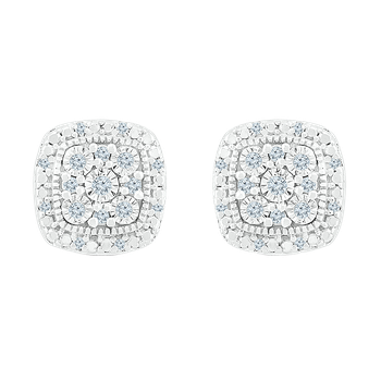 .12 Square Diamond Cluster Earrings