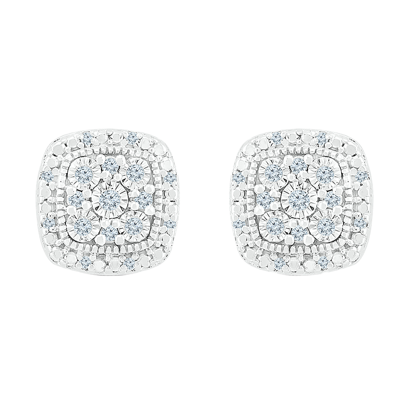 Gifts That Rock .12 Square Diamond Cluster Earrings