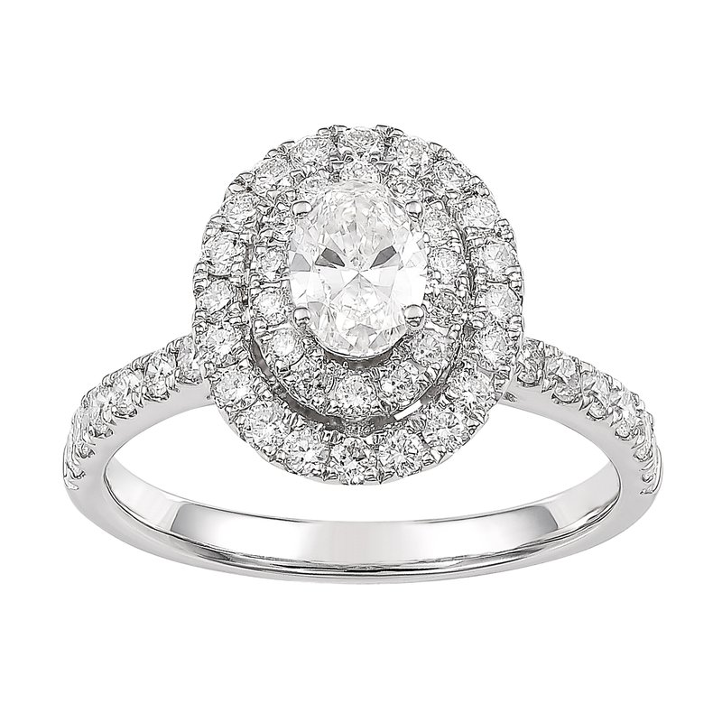 Lab Grown Diamonds Certified 1.25 Ctw Diamond Halo Engagement Ring Double