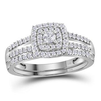 10kt White Gold Womens Round Diamond Split-shank Bridal Wedding Engagement Ring Band Set 1/2 Cttw
