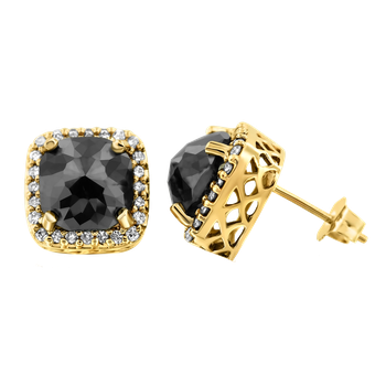 YG 2.75ctw Cushion Black Diamond Earrings