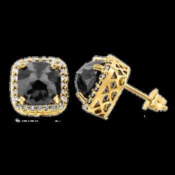 YG 2.75ctw Cushion Black Diamond Earrings