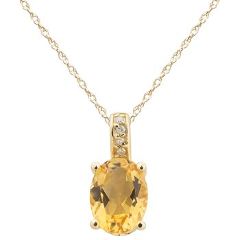 14ky Citrine / Diamond Yellow Gold Pendant