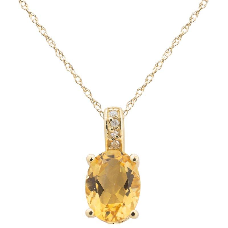 Birthstone Collection 14ky Citrine / Diamond Yellow Gold Pendant