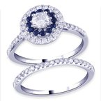 Royal Colorless 14kt White Gold 1.03ctw Dia With Sapphires Totalling 1-1/2ctw Bridal Set