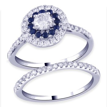 14kt White Gold 1.03ctw Dia With Sapphires Totalling 1-1/2ctw Bridal Set