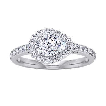 Certified 1 1/3ctw Sideways Pear Halo Engagement Ring