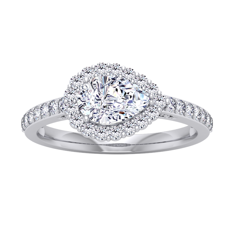 Lab Grown Diamonds Certified 1 1/3ctw Sideways Pear Halo Engagement Ring