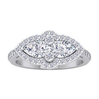 Certified 1 1/2ctw Double Pear Diamond Engagement Ring