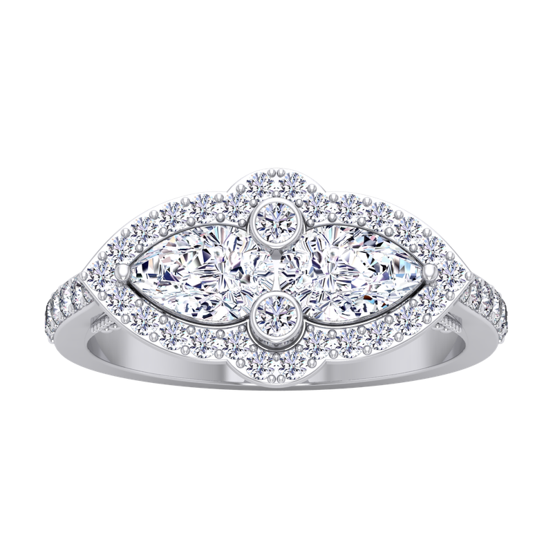 Lab Grown Diamonds Certified 1 1/2ctw Double Pear Diamond Engagement Ring