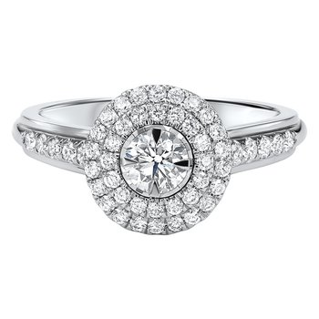 Double Halo 1/3ct Center Tru Reflections Engagement Ring