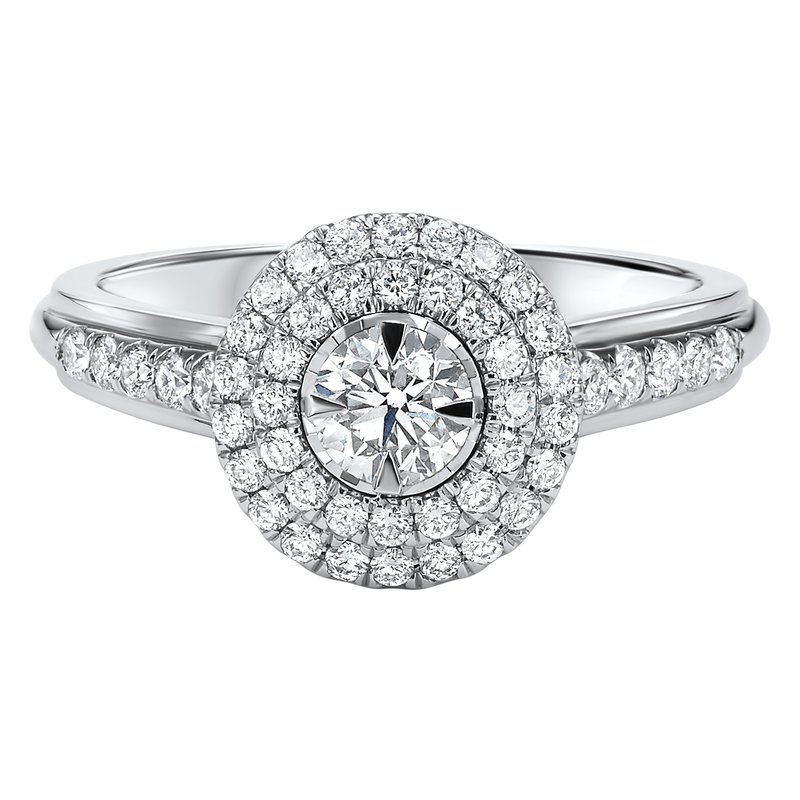Promise Forever Double Halo 1/3ct Center Tru Reflections Engagement Ring