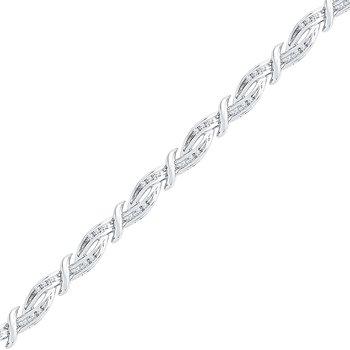 10K Two Tone Sterling Silver Diamond Bracelet