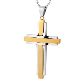 "24"""" Steel/Gold Ion Plating Cross Necklace"