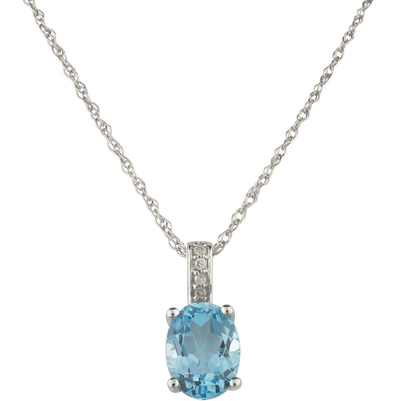 Birthstone Collection 14kw Blue Topaz / Diamond Pendant