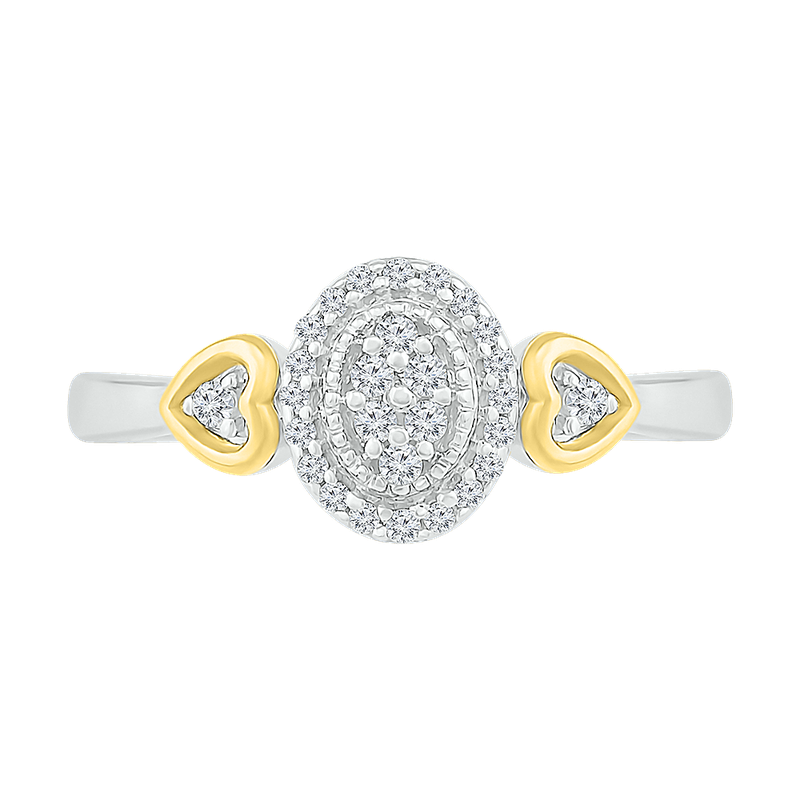 Saslow's & Henebry's Collection Oval Double Heart Promise Ring