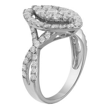 WG 1.29ctw Diamond Marquise Cluster Fashion Ring