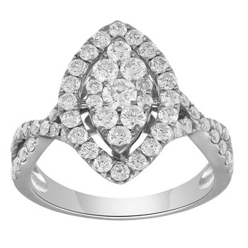 WG 1.29ctw Lab grown Marquise Cluster Fashion Ring