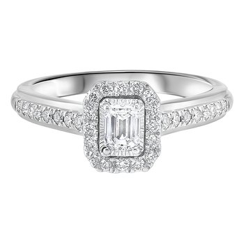 5/8ctw Tru Reflections Emerald Cut Halo Engagement Ring