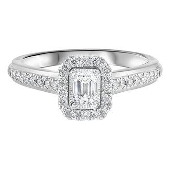 5/8ctw Tru Reflections Emerald Cut Halo Engagement Ring