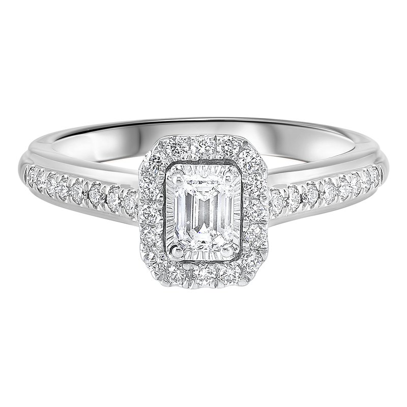 Promise Forever 5/8ctw Tru Reflections Emerald Cut Halo Engagement Ring