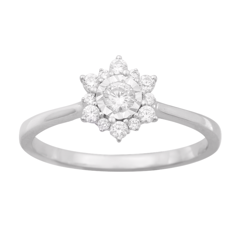 Saslow's & Henebry's Collection 1/4ctw Round Center Flower Promise Ring