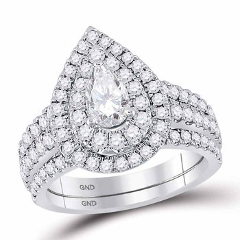 2 CT-DIA 1/2CT PEAR BELLISSIMO BRIDAL SET