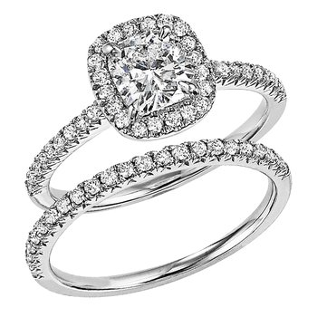 1.5ctw Cushion Cut Halo Bridal Set