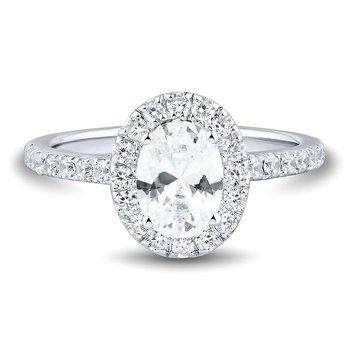 Certified 1.5ctw Diamond Oval Halo Engagement Ring