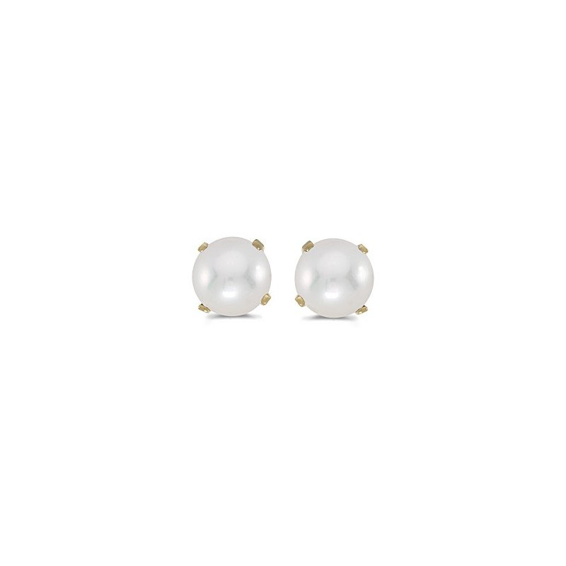 Birthstone Collection 14k Yellow Gold Pearl/Diamond Stud Earrings