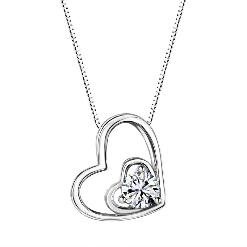 Birthstone Collection White Sapphire Double Heart Sterling Silver Pendant