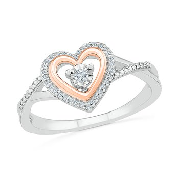 1/10 ctw Pink Heart Diamond Ring