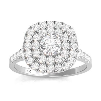 Certified 1ctw Double Halo Engagement Ring