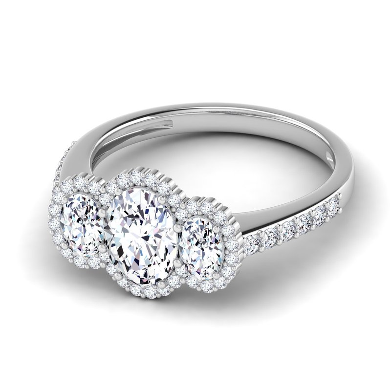 Lab Grown Diamonds Certified 1 1/2ctw Halo Engagement Ring