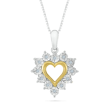 SS/YG .05ctw Heart Necklace