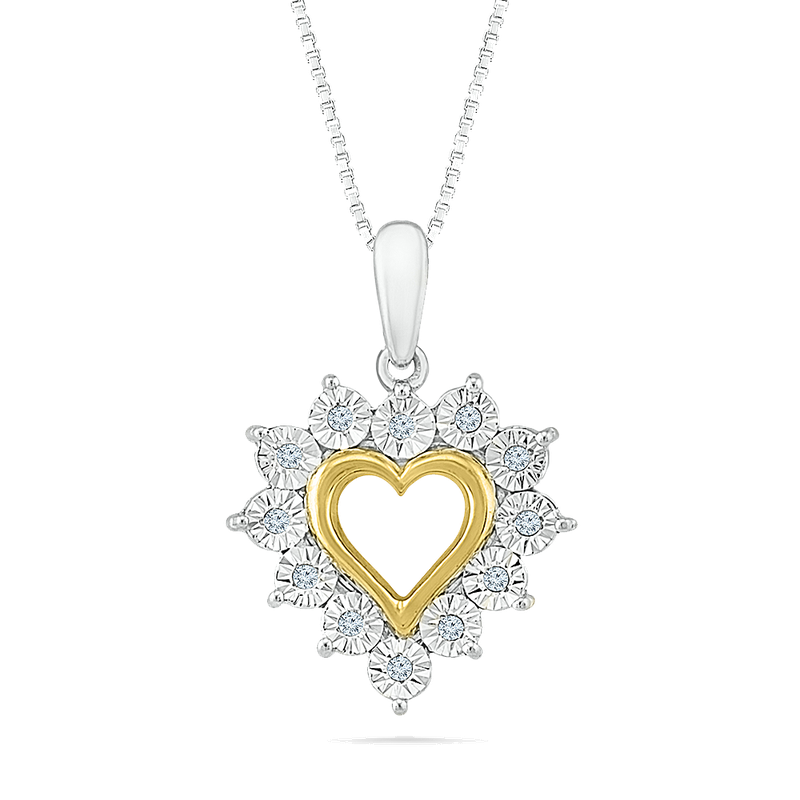 Gifts That Rock SS/YG .05ctw Heart Necklace