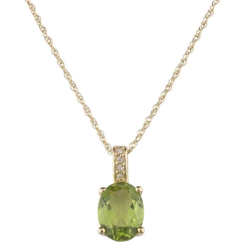 Birthstone Collection 14ky Peridot / Diamond Yellow Gold Pendant