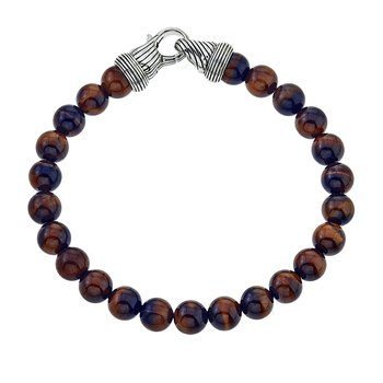 Round Tiger Eye and Silver Beaded Bracelet