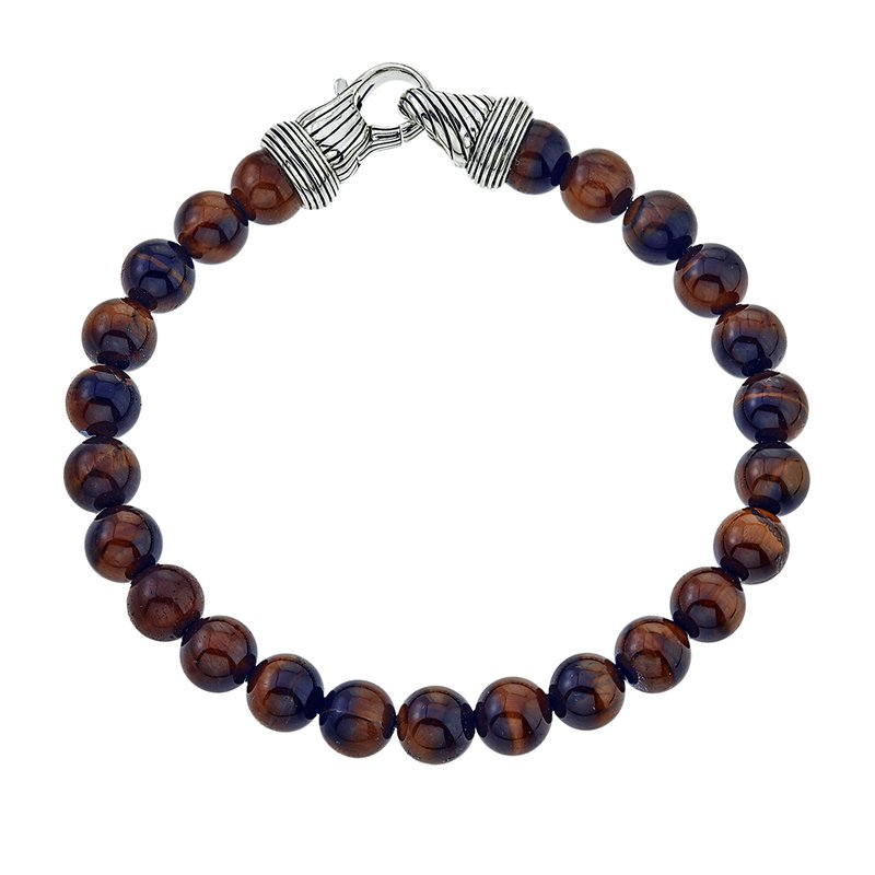 Esquire Men's Jewelry Round Tiger Eye and Silver Beaded Bracelet