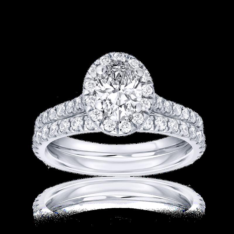 Lab Grown Diamonds Certified 1.5ctw Oval Diamond Bridal Set