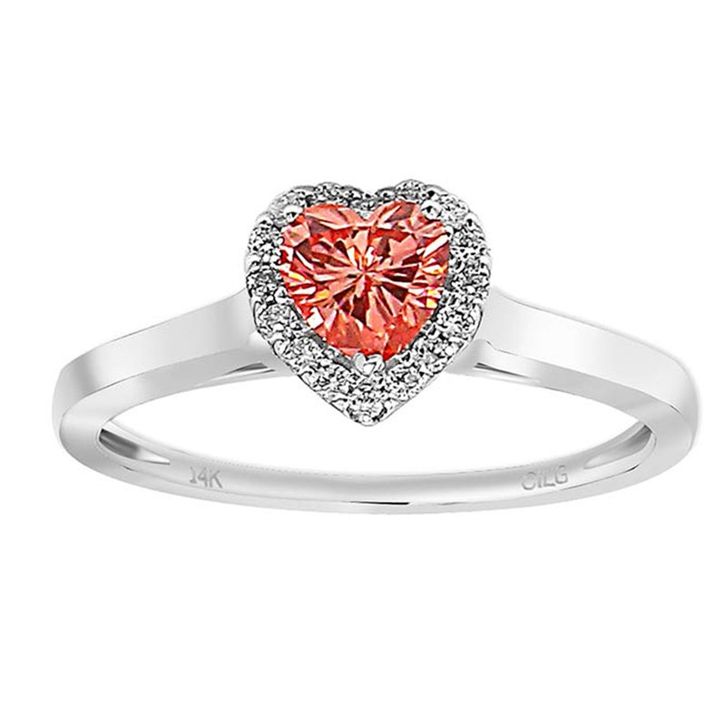 Lab Grown Diamonds .60ctw Pink Heart Halo Diamond Engagement