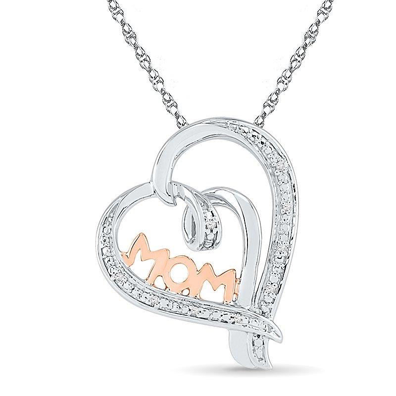 Diamond MOM Heart Pendant 0.03 CTTW Silver &10KT Pink Gold