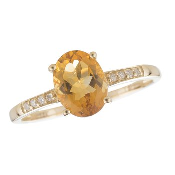 14ky Citrine/Diamond Yellow Gold Ring