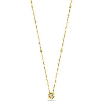 Star Bezel Necklace Your Choice YG/WG