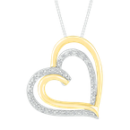 Saslow's & Henebry's Collection Two Tone Double Heart Diamond Pendant