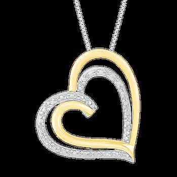 Two Tone Double Heart Diamond Pendant