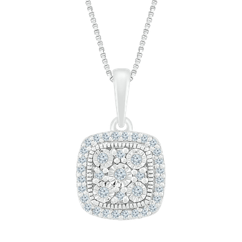 .12ctw Square Diamond Cluster Necklace