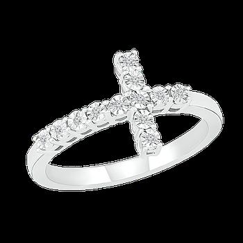 Diamond Illusion Cross Ring